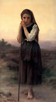 Art Oil painting Bouguereau - Young Girl Little Shepherdess Hand painted