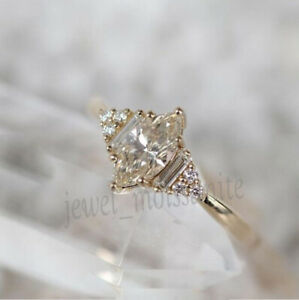 Solid 10k Yellow Gold 1.46 Ct White Marquise Genuine Moissanite Engagement Ring