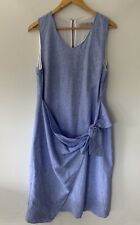 THE ARK stunning blue tie knot front linen dress Size M 12 14 $369