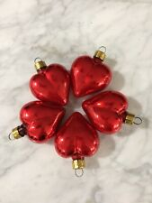 Shiny Red Heart Glass 4th of July Ornament