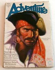 Adventure Pulp, Sept. 1st, 1930, Lamb, de Nogales, Pirate Cover, FN/VF 7.0