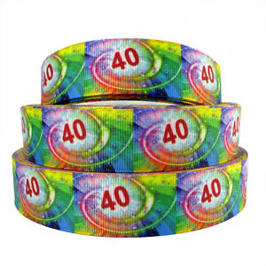 1 METRE OF 40 40TH BIRTHDAY RIBBON SIZE 1 INCH CARD MAKING BIRTHDAY CAKE PLAQUES