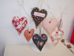 BARGAIN PACKS 25 + 12 FABRIC HEARTS, ASSORTED COLOURS, CARDS, APPLIQUES, CRAFTS