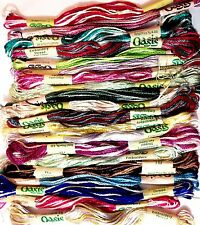 Brand New 20 Variegated Oasis Art Silk/Rayon Stranded Hand Embroidery Skeins