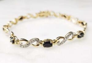 """Ross Simons GP Sterling Silver Sapphire Link Bracelet 7-1/2"""" ~ 10.0g ~10-K1392"""