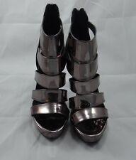 Steve Madden SPYCEE Metallic Pewter Strappy Sandal Bootie Stiletto Size 10 US