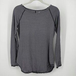 Athleta Shanti Long Sleeve Micro Stripe Top # 218020-01. Black / White. Size: S