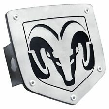 """Dodge Ram Black and Chrome Stainless Steel 2"""" Trailer Tow Hitch Cover"""