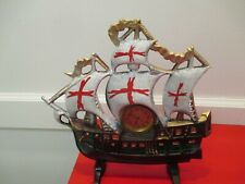 Antique Vintage Cast Iron Ship Boat Mantel Clock White Sails with Red Crosses