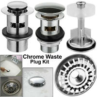 Bathroom Waste Pop Up Push Button Basin Sink Slotted Brass Chrome Waste Plug Kit