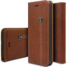 Echt Leder Handy Tasche Schutzhülle Book Case Flip Cover Wallet Etui Handy Hülle