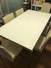 Glass Top 6 seater dining table, with Leather Chairs