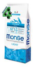 Monge Superpremium All Breeds Light Salmone Riso 12 kg Per Cani