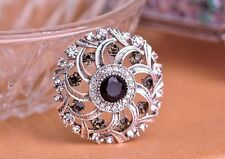 GORGEOUS VINTAGE INSPIRED ANTIQUE SILVER PLATED PURPLE RHINESTONE ROUND BROOCH