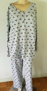NWT Womens L/S Knit PJS Pajamas Croft & Barrow Grey Cardinals Cotton Blend
