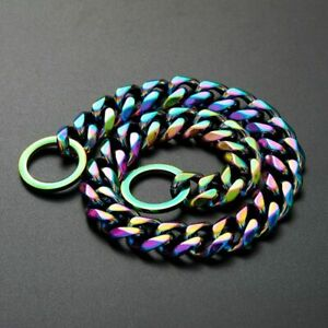 Dog Collar Chain Stainless Steel Cuban Large Pitbull Bulldog Pet Colorful Plated