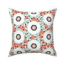 Floral Mint Coral Spring Throw Pillow Cover w Optional Insert by Roostery