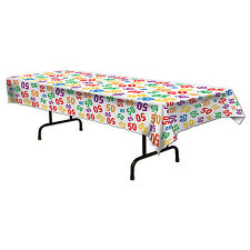 50th Celebration Plastic Table Cover - Birthday Party Tableware Decorations