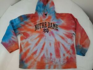 Vintage Notre Dame Embroidered Tie-Dyed Hoodie Hooded Sweatshirt Size XL