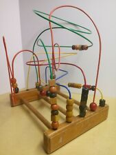 Old Early Vintage Wood Bead Maze Educational Toy