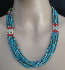 Ethnic Tibetan Sterling Silver Necklace jewelry Tribal Coral Turquoise Nepal NA