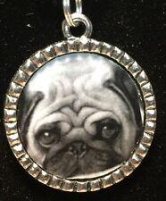 "Dog Pug B&W Charm Tibetan Silver with 18"" Necklace F50"