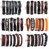 4/5/6pcs Mens Leather Beads Wrap Braided Wristband Cuff Punk Bracelet Bangle New
