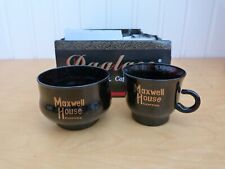 Set of 6 Collectable Black & Gold Hornsea Maxwell House Coffee Cups & Sugar Bowl