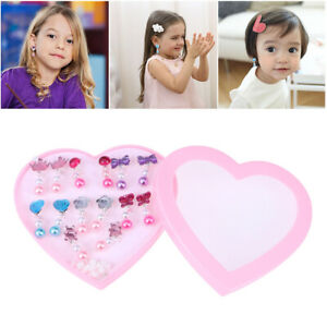 7 Pairs Girls Earrings Box Set Clip-on Jewelry Kids Accessories Birthday Gift US