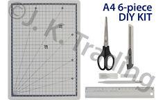 Scrapbooking 6pc Kit: A4 Craft Cutting Mat,Cutter,Knife,6 Blades,Ruler,Scissors