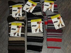 no nonsense ~ lot of 6 pair socks ~ mid calf boot socks wool blend striped