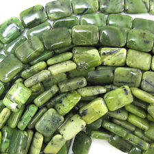 "14mm Canada jade rectangle beads 15.5"" strand"