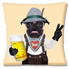 """NEW Funny Novelty FAWN PUG BIERKELLER STEIN PHOTO PRINT 16"""" Pillow Cushion Cover"""