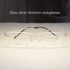 Mens Rectangular rimless Titanium Eyeglasses gloss silver RX folding glasses