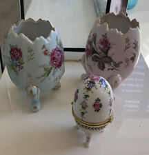 Vintage Porcelaiin Eggs Three in Lot Excellent Condition Vases Collectibles