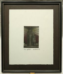 LAL HITCHCOCK SIGNED ORIGINAL LIMITED EDITION TINTED ETCHING OF LIGHTHOUSE 1983