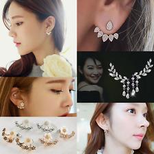 5Pairs/Set Korean Style Crystal Rhinestone Flower Ear Stud Earrings Jewelry Gift