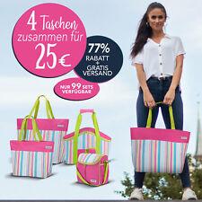 anndora Taschen Set pink lime Shopper + Kühltasche + Strandtasche + Vespertasche