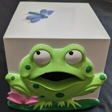 """Frog Tissue Box Cover Holder 2006 Do Your Room Frog Hard To Find Item 5""""x5.5""""."""