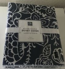 Pottery Barn Dorm Bloom Doodle Twin Duvet Covers Navy Blue & White Floral New