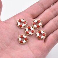10PC Red/White Enamel Life Buoy Charm Pendant 15*15MM For DIY Bracelet/Earrings