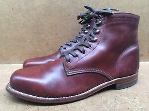 Men's Wolverine 1000 Miles Brown Plain Toe Leather Boots Size US 11.5 D |Uk 10.5