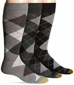 Gold Toe Men's Carlyle Crew Socks, 3 Pairs, Black Argyle Mix,, Black, Size 12.0