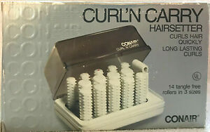 Conair Curl N Carry Hot Rollers Hairsetter HS-4 14 Tangle Free Rollers 3 Sizes