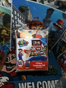 SUPER MARIO Odyssey Twin/ Full BEDDING Bed In Bag w/ Comforter Set