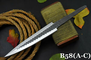 Hammered Spring Steel 5160 Blank Blade Dagger Hunting Knife, No Damascus (B58-C)