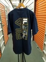FILA Vintage 90's Spellout T Shirt Blue Men's Size XL sports VTG