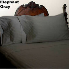 1000Tc Elephant Grey Striped 4-Piece Sheet Set With 7 American Sizes- Free Ship