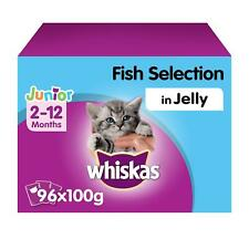 More details for 96 x 100g whiskas 2-12 months kitten wet cat food pouches mixed fish in jelly