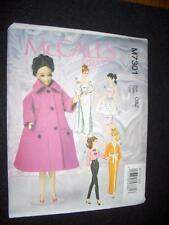 "11"" DOLL Barbie Coat Dresses Clothes NEW McCalls 7301 Pattern"